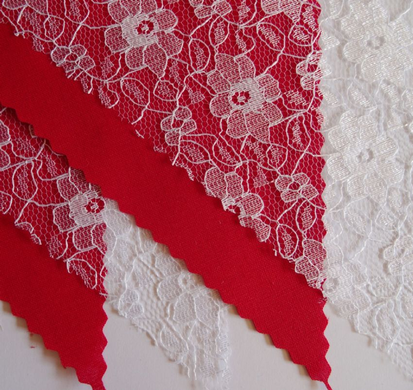 BUNTING - Plain Red & White Floral Lace - 3m/10ft or 5m/16ft